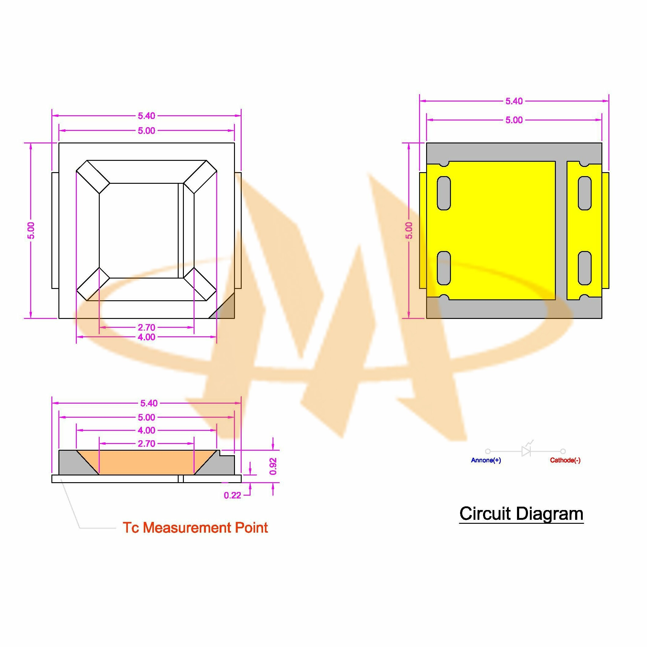 Smd Led Circuit Diagram Schematic Diagrams High Power Driver Using Lnk403eg Mlt 5054 03350dxx Components Blinking Mechanical Dimensions